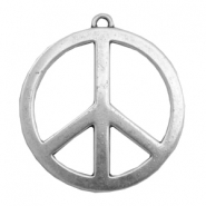 Charms TQ Peace sign 60mm Antique Silver