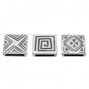 Findings TQ metal slider square Boho style Ø13x2.5mm Antique Silver