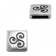 Findings TQ metal slider square with swirl Ø13.8x2.7mm Antique Silver