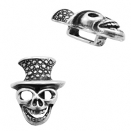 Findings TQ metal slider skull with head Ø13x4mm Antique Silver