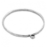 Findings TQ metal bangle bracelet with loop Antique Silver