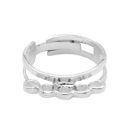 Findings TQ metal adjustable ring with loops Light Silver