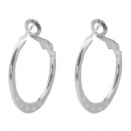 Findings TQ metal Creole earrings 25mm with loops Light Silver
