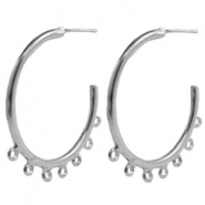 Findings TQ metal Creole earrings 50mm with loops Antique Silver