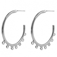 Findings TQ metal Creole earrings 40mm with loops Antique Silver