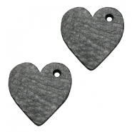 DQ leather charms heart Antracita Black