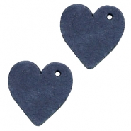 DQ leather charms heart Dark Denim Blue