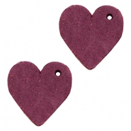 DQ leather charms heart Light Aubergine Red
