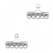 DQ metal charms bar with 6 loops Antique Silver (nickel free)