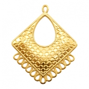 DQ metal charms rhombus with 14 loops Gold (nickel free)