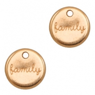 "DQ metal charms round ""family"" Rose Gold (nickel free)"