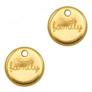 "DQ metal charms round ""family"" Gold (nickel free)"