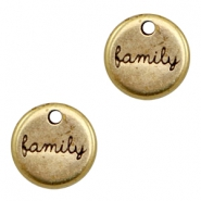 "DQ metal charms round ""family"" Antique Bronze (nickel free)"
