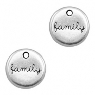 "DQ metal charms round ""family"" Antique Silver (nickel free)"
