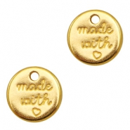 "DQ metal charms round ""made with"" Gold (nickel free)"