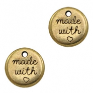 "DQ metal charms round ""made with"" Antique Bronze (nickel free)"