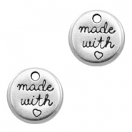 "DQ metal charms round ""made with"" Antique Silver (nickel free)"
