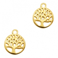 DQ metal charms round tree Gold (nickel free)