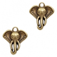 DQ metal charms elephant head Antique Bronze (nickel free)