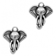 DQ metal charms elephant head Antique Silver (nickel free)