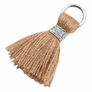 Tassels Ibiza style 1.8cm Silver-Camel Brown