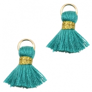 Tassels Ibiza style 1.5cm Gold-Dark Emerald Green