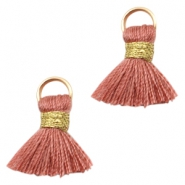 Tassels Ibiza style 1.5cm Gold-Antique Pink