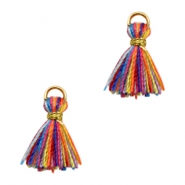 Tassels Ibiza style 1cm Gold-Multicolour Yellow Orange