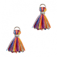 Tassels Ibiza style 1cm Silver-Multicolour Yellow Orange