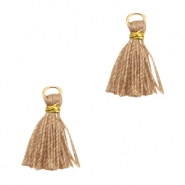 Tassels Ibiza style 1cm Gold-Camel Brown