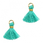 Tassels Ibiza style 1cm Gold-Turquoise Green