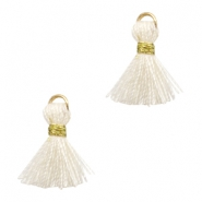 Tassels Ibiza style 1cm Gold-Off White