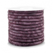 Stitched faux leather 4x3mm with pattern Flint Purple