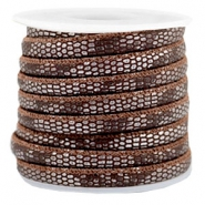 Stitched faux leather 6x4mm reptile Chocolate Brown