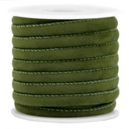 Trendy stitched velvet cord 6x4mm Army Green