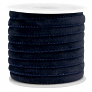 Trendy stitched velvet cord 6x4mm Dark Blue
