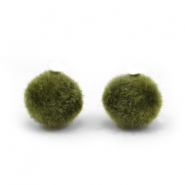 Velvet pompom beads 8mm Army Green