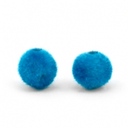 Velvet pompom beads 6mm Light Blue