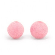 Velvet pompom beads 8mm Light Pink