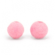 Velvet pompom beads 6mm Light Pink