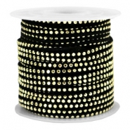 Faux suede with rhinestones 3mm Gold-Black