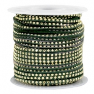 Faux suede with rhinestones 3mm Gold-Dark Green