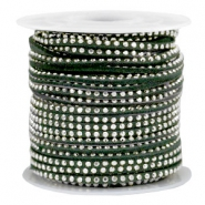 Faux suede with rhinestones 3mm Silver-Dark Green
