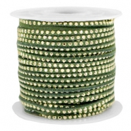 Faux suede with rhinestones 3mm Gold-Olive Green