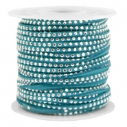 Faux suede with rhinestones 3mm Silver-Petrol Green