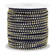 Faux suede with rhinestones 3mm Gold-Midnight Blue