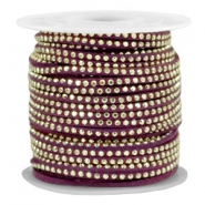 Faux suede with rhinestones 3mm Gold-Aubergine Purple