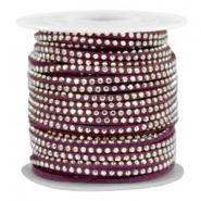 Faux suede with rhinestones 3mm Silver-Aubergine Purple