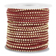 Faux suede with rhinestones 3mm Gold-Port Red