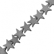 Hematite beads star 8mm Matt Anthracite Grey